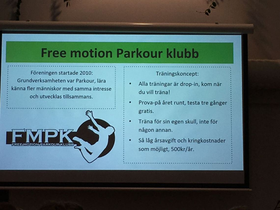 Free motion parkour klubb motionsidrott