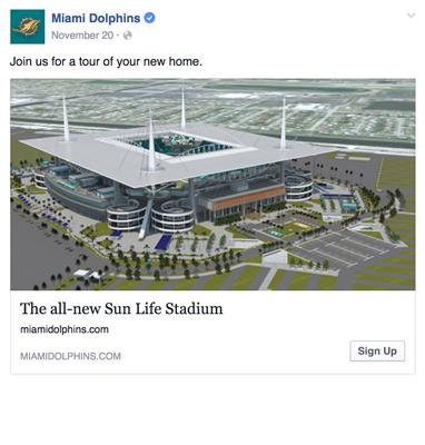 Miami Dolphins Facebookannons Sportidealisten sportmarknadsföring