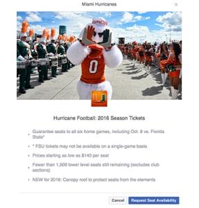 Miami Hurricanes Facebookannonser Sportidealisten sportmarknadsföring