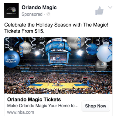 Orlando Magic Facebook annonser Sportidealisten sportmarknadsföring